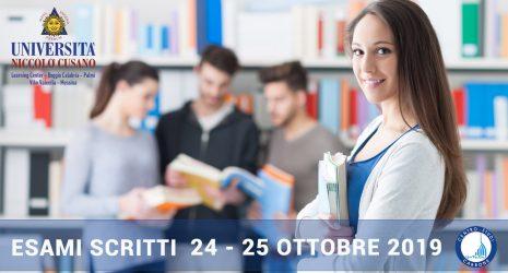 Sedi e orari esami scritti giovedì 24 e venerdì 25 ottobre 2019